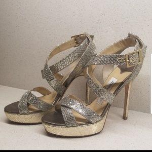 JIMMY CHOO gold/silver glittered heels (size 5.5)